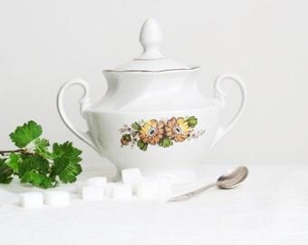 Soviet Vintage Sugar Basin with Lid, Vintage Floral Sugar Bowl, White Ceramic, USSR era 1970s