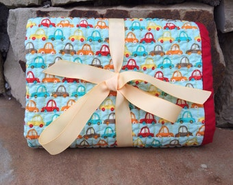 Quilted Baby Boy Changing Pad, Boy Crazy by Riley Blake, Cars, red, teal, yellow