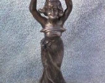 Beautiful Early 1900's Art Nouveau Cast Metal Figural Woman Candlestick holder - Antique Candlestick