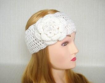 Ear warmer Crochet headband headwrap Crochet headband ear warmer Winter headband head wrap with flower Hand crochet earwarmer Christmas gift