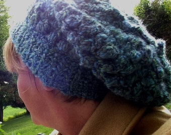 Slouchy Beanie - Purple Green and Teal