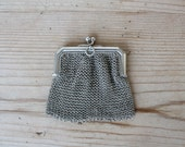 French small  Mesh Silver Purse, Necklace / 1920 / Antique Jewelry, jewel / Women Accessories