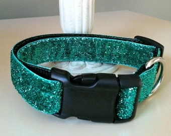 Dog Collar- Teal Glitter