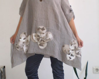 Long Linen Tunic Midi Dress Plus Sizes Tunic Asymmetric Tunic Top & Nara LTo13