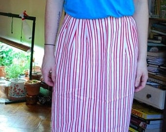 SALE! Vintage Pin Up Red&White Pencil Skirt