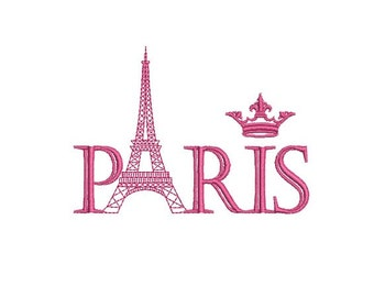 instant download embroidery Paris Eiffel tower crown
