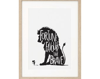 Fortune Favours The Brave 1 - Lion & Mouse Silhouette digital print. A3