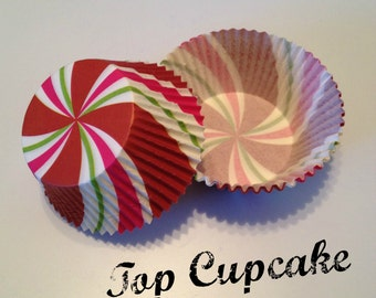 Red, Green, Pink and White Swirl Cupcake Liners