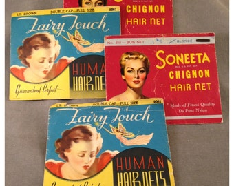 Four 1930s, 1940s-50s Human Hair Nets, in Original Packaging, Unused