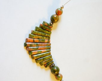 Handmade Unakite and silver sterling necklace