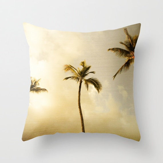 Items similar to Throw Pillow Cover, Palm Trees, Surf Decor, Hawaiian Art, Modern Bedding ...