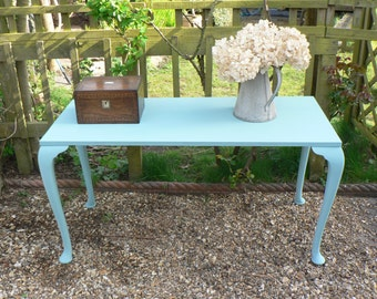 Gustavian Style Desk/Dressing/Hall/Console Table Painted in Annie Sloan Duck Egg Blue Chalk Paint