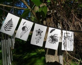 Botanical Prayer Flags - 5 small white raw silk - 3x6 inch