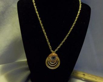 Creepy Human Doll Blue Glass Eye Eyeball Gold Tone 23 inch Necklace Gothic Steampunk OOAK