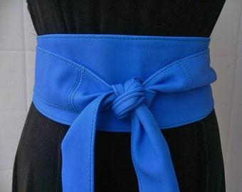 Blue real leather obi belts sash belts boho bohemian wrap around tie belts handmade Spain royal blue klein blue cobalt blue dazzling blue