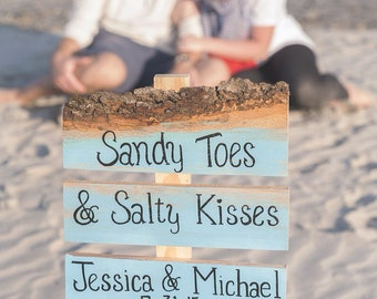 Sandy toes and salty kisses beach wedding aqua turquoise blue wedding sign with stake