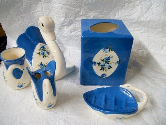 Cerámicas pintadas, Set de baño cisne Boc cubierta del tejido, cepillo de dientes, taza, jabón, sostenedor de la toalla
