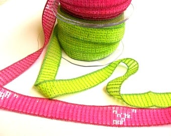 1 m Trim with sequins  20 mm neon pink green