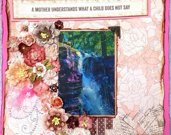 Mother's day premade scrapbook page, personalized photo, framed decor, flowers, feminine, unique {waterfall}