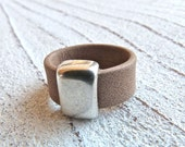 Leather ring #39, Ladies Ring, Ring for women,Boho Chic, Gypsy Ring,leahterring,Zamak, Handmade Jewelry,women,#USA,brown ring,Gift for Her