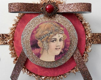 Mixed Media Lady Victorian Style Ornament - Tree Decor - Collage Art Tag - Victorian Christmas - Paper Mixed Media - Old World Ornament