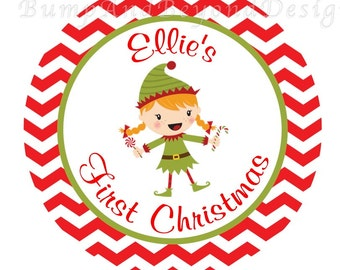Christmas Iron on Transfer DIY - My 1st Christmas Red Green Christmas Girl Elf Christmas Baby Girl Iron On Custom Personalized Name - Ellie