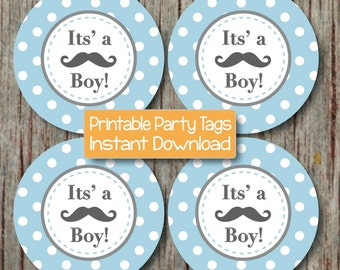 Little Man Baby Shower Printable Party Mustache Its a Boy! Cupcake Toppers Powder Blue Grey Baby Shower Decorations INSTANT DOWNLOAD diy 059