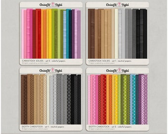 Cardstock Bundle - all 4 sets - Digital Scrapbooking Papers
