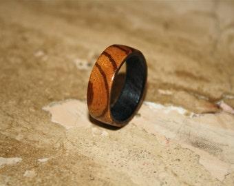 Mens wedding band, Wood ring, Mens ring, Womens ring, Zebra ring
