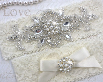 MADRID II - Pearl Wedding Garter Set, Lace Garter, Rhinestone Crystal Bridal Garters