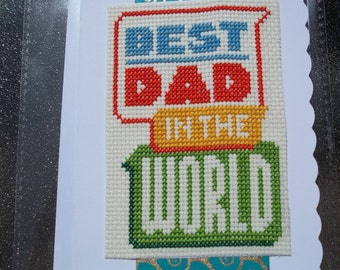 hand made cross stitched fathers day card