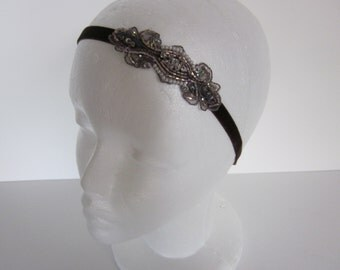 Rose Gold headband, Rose gold wedding headband, BRONZE BEADED Headband silver champagne gold beaded Flappe Dress Pearls Art Deco Bridal 1920