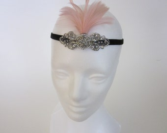 Halloween flapper costume, daisy Buchanan, party, headpiece, roaring 20s, charleston, fascinator, 1920s feather Party Dark Gray Fascinator