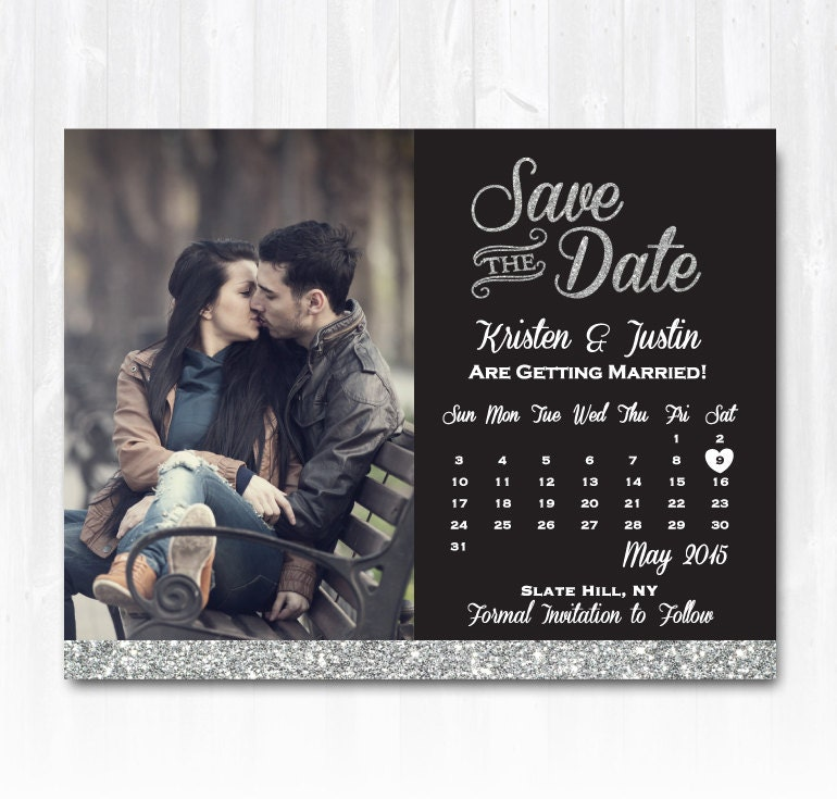 Silver Glitter Save The Date Magnet or Card DIY PRINTABLE