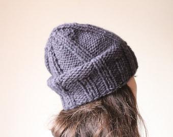 Wool slouchy beanie. Womens winter hat. slouchy knit beanie. Knit hat. knitted beanie. knitted winter hats. eggplant hat. winter beanie