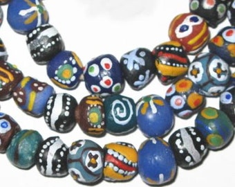 African Ghana handmade mixed glass trade beads