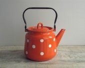 SALE - Orange White Polka Dot Enamel Kettle - Soviet vintage - retro enamelware - country kitchen home decor - farmhouse kitchenware - USSR