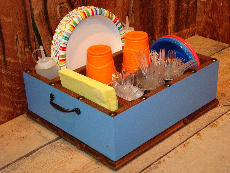 Light blue party decor tableware utensil holder caddy for Table utensils