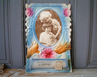 Antique french publicity calendar with antique photo of children. Birds and flowers art. Shabby chic. Fuschia and blue. Flower garland