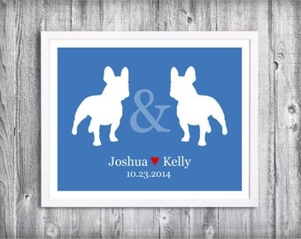Custom Wedding Gift for Dog Lovers - Personalized Dog Couple Print  - Any Breeds Available