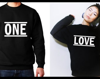 One Love Couple Sweatshirt, Matching Couple Shirts, Anniversary Shirts, His and Hers Shirt, Engagement Gift, Couple Hoodies, Gift For Couple