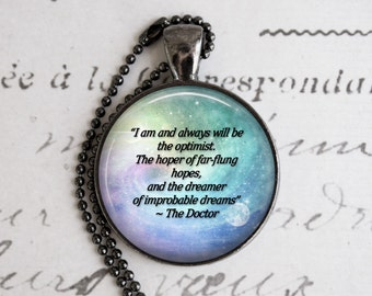 """Doctor Who """"The Optimist"""" Necklace, Doctor Who Jewelry, Doctor Who Necklace, Geek Jewelry, Fandom Jewelry"""