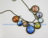 sale-Solar System necklace,Space jewelry,universe necklace,uinverse jewelry,pendant necklace,statement necklace