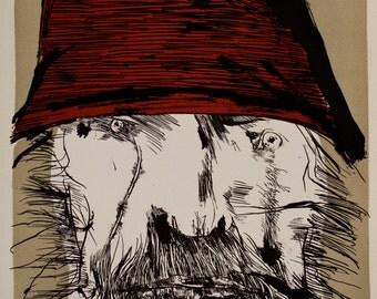"Vintage Lithograph ""Ahab"" by Leonard Baskin"