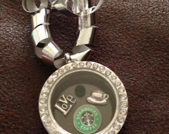Starbucks love coffee Christmas ornament joy of shopping Locket