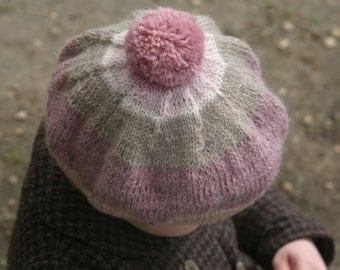 Baby girl/toddler/child hat. Knitted baby clothes. Hand knitted hat. Knitted baby hat. Children's hat. Winter hat. Wool hat. Kids knit beret