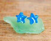 Blue and White Star Shape mixed Polymer Clay Stud Earrings 3/8 inch