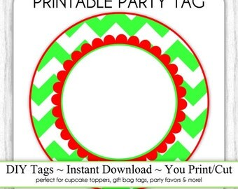 Instant Download - Red and Green Chevron, Christmas Printable Party Tag, Cupcake Topper, DIY, You Print, You Cut