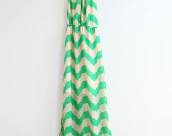Clearance SALE Mint Chevron Maxi Dress Summer Maxi Dress Maxi Dress Long Dress Summer Maxi Dress Sun Dress Beach Summer Boho Maxi Dress