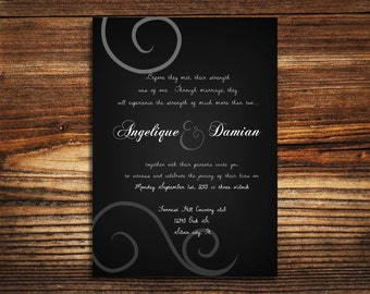 wedding invitations Black and white Swirl wedding invite